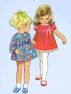 1960s Original Vintage Butterick Pattern 5362 Toddler Girls Tucked Dress Size 3 #Butterick #DressPattern