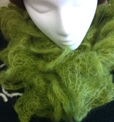 Scarf Knit Mohair Silk Ruffle Scarf Green Scarf Colorado by herie7, $35.00