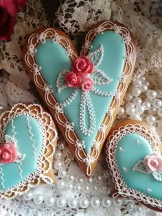 Simply hearts with crocheted lace and pink hearts by Teri Pringle Wood