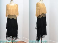 Vintage 1920s two piece tiered black and tan lace dress with cape collar