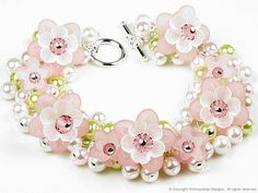 Apple Blossom Flower Swarovski Crystal Pearl Cluster Silver Charm Bracelet in Pink Green White Spring Floral Cherry Blooms Jewelry for Women Paper Jewelry, Jewelry Crafts, Beaded Jewelry, Jewelry Bracelets, Handmade Jewelry, Beaded Necklace, Geek Jewelry, Gothic Jewelry, Silver Charm Bracelet