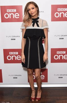 Monochrome dream:Thandie Newton again did not put not a fashion foot wrong on Friday, as s...