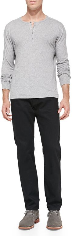 $85, Jersey Long Sleeve Henley Heather Steel by Vince. Sold by Neiman Marcus. Click for more info: http://lookastic.com/men/shop_items/144365/redirect