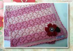 Miau Atelier: Manta rosa para bebê em tricô