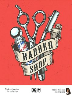 Old school style colorful Barber Shop emblem with scissors, a blade, a barber pole and ribbon around Barber Shop Interior, Barber Shop Decor, Salon Interior Design, Beauty Salon Interior, Barber Shop Vintage, Old School Barber Shop, Best Barber Shop, Barber Poster, Barber Logo