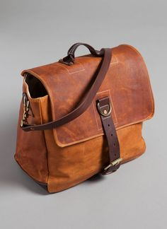 "Hand made messenger bag crafted in hand cut tobacco leather in Tennessee - Billy Reid  15""X8""XH12"""