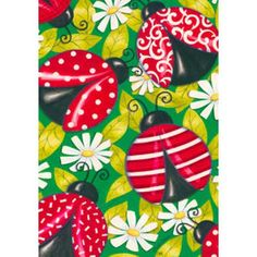 Buy Fancy Ladybugs House Flag with free same day shipping and everyday low prices. Four ladybugs with different designs stroll through a field of daisies.