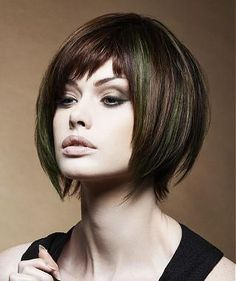 A Medium Brown straight choppy multi-tonal coloured bob womens haircut hairstyle by Yoshiko Hair