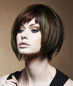 A Medium Brown straight choppy multi-tonal coloured bob womens haircut hairstyle by Yoshiko Hair