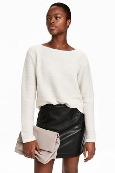 Boat-necked Jersey Top | Natural white | WOMEN | H&M US