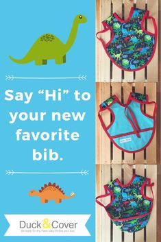 A practical and fun baby gift and this bib actually works. Full coverage, ties to keep it in place, and a unique pouch pocket. Perfect for your little paleontologist. Visit Duck & Cover Creations on Etsy to learn more. Best Baby Gifts, Best Baby Shower Gifts, Baby Shower Cards, Stocking Stuffers For Baby, Baby Stocking, First Birthday Gifts, First Birthdays, Fun Baby, Baby Baby