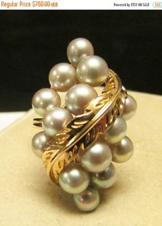 On Sale Vintage Estate Large Ming's of Honolulu Gray Pearl Ring by Alohamemorabilia on Etsy