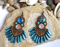 20 OFF Turquoise Fan Bead Embroidered Earrings by RedTulipDesign, $64.00