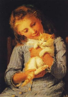 Albert Anker (1831-1910, Swiss) - THE GREAT CAT