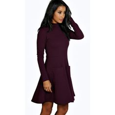 Boohoo Georgia High Neck Pocket Skater Dress ($26) ❤ liked on Polyvore featuring dresses, berry, purple dress, purple bodycon dress, holiday dresses, purple cocktail dress and purple evening dresses