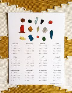 Wall Calendar // Rocks and Crystals Print // Free US Shipping // 11X17 // 2014 Limited Edition Print
