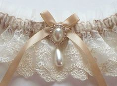 Wedding Garter in Ivory Lace on Champagne Band with Pearl and Crystal Detail - The MEREDITH Garter on Etsy