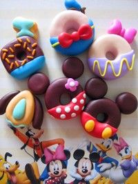 OMG! Adorable! #Disney #polymer #clay donut icon charms