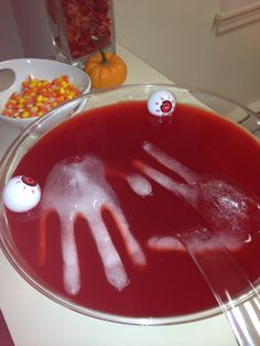 halloween blood punch i filled up medical gloves with water tied the - Punch For Halloween