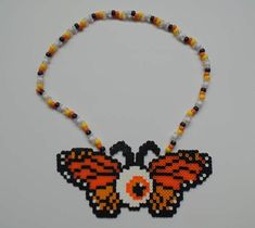 Instead of butterfly wings do bat wings like from gravity falls Rainbow Loom Patterns, Kandi Patterns, Pearler Bead Patterns, Perler Patterns, Beading Patterns, Stitch Patterns, Perler Bead Templates, Diy Perler Beads, Perler Bead Art