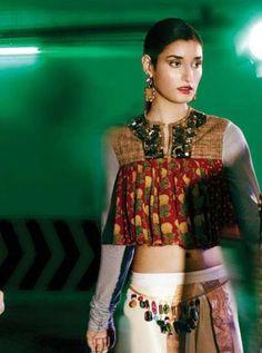 Grazia India Aug 2012 cropped blouse - Sabyasachi
