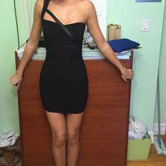 Black dress Black skinny stretchy dress with pleather straps Dresses