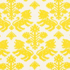 Regalia Yellow 177301 by Schumacher Fabric Schumacher Classics III Linen, Cotton see sample Wyzenbeek Horizontal: 18 inches and Vertical: 22 inches 53 inches - Fabric Carolina - Fabric Birds, Ikat Fabric, Yellow Fabric, Drapery Fabric, Floral Fabric, Fabric Decor, Fabric Design, Colour Yellow, Curtains