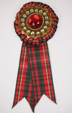 3 yards of ribbon transformed into a fabulous brooch. Ribbon Rosettes, Red Plaid, Yards, Brooch, Jewelry, Jewlery, Jewerly, Brooches, Schmuck