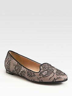 Holiday Gift Guide: Valentino Lace Smoking Slippers for Her _ Saks.com