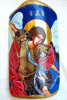Saint  Archangel Michael  handpainted orthodox  icon by iconsart, $155.00