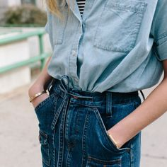Noticed: Breaking Up the Denim on Denim Look (Madewell Musings) Denim On Denim Looks, Blue Denim, Denim Style, Blue Jeans, Feminine Tomboy, Blues, Summer Denim, Current Fashion Trends, Thing 1