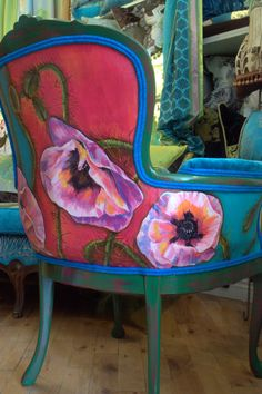 My Bohemian Style. This painted and upholstered vintage chair sold for 1600.00. You can order a chair and choose your fabric combinations and chair or order fabric and I can design a combinattion for your chair.