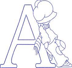 Alfabetos Lindos: Alfabeto riscos ou moldes de letras Sunbonnet Sue bordado                                                                                                                                                                                 Mais