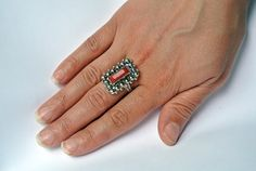 Vintage coral ring Berber ring sterling by AntiquesNejadStyle