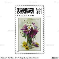 Fine Art Mother's Day Postage Stamps. Flower painting. Artist Paul de Longpré. Circa 1900. Matching cards, postage stamps , envelopes and other products available in the Holidays / Mother's Day Category of the oldandclassic store at zazzle.com