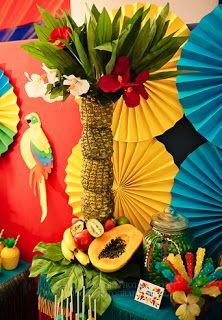 Party Frosting: Tiki/Luau party ideas/inspiration luv the umbrellas Rio Party, Aloha Party, Luau Party, Party Time, Party Summer, Rio Birthday Parties, Luau Birthday, Carnival Themed Party, Luau Theme