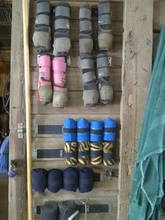 Velcro to the tack room wall for easy boot and wrap storage.Attach Velcro to the tack room wall for easy boot and wrap storage. Dream Stables, Dream Barn, Horse Stables, Horse Barns, Horse Trailer Organization, Tack Room Organization, Tack Trunk, Tack Locker, Diy Locker