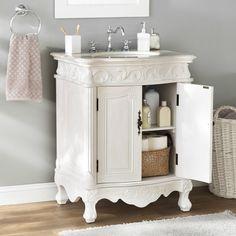 Astoria Grand Ambudkar Single Vanity Set & Reviews | Wayfair Office Bathroom, Hall Bathroom, Single Bathroom Vanity, Bathroom Ideas, Bathrooms, Basement Bathroom, Antique White Cabinets, Beige Cabinets, Vanity For Sale