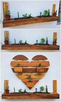 In almost all the houses settlement of the wood pallet wall planter is getting much common as they look so outstanding and modern in designing concepts. Here as you can see in the image that th Wooden Pallet Wall, Diy Pallet Sofa, Diy Pallet Projects, Wooden Pallets, Wooden Diy, Pallet Ideas, Pallet Shelves, Reclaimed Wood Furniture, Pallet Furniture