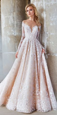 hayley paige wedding dresses 2018 a line blush sweetheart neck lace long sleeve