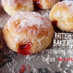 Hippopotamousse: British Bakery Strawberry and Custard Filled Donuts