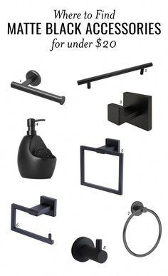 Matte Black Bathroom Accessories // One Room Challenge Week 5 - Modern Black Bathroom Decor, Modern White Bathroom, Bathroom Interior, Small Bathroom, Master Bathroom, Bathroom Faucets, Parisian Bathroom, Rental Bathroom, Bathroom Mirrors