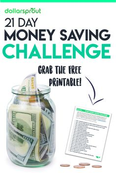 Start saving money TODAY with this fun 21 Day Money Saving Challenge (including printable). Frugal Tips | How to Save Money | Stop Spending | Making a Budget
