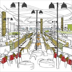 mall food court design - Google Search