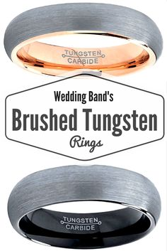 One of my favorite wedding bands are brushed tungsten wedding bands. I love the rose tungsten wedding band up top and the black tungsten wedding band. Not sure which one to get for my husband......