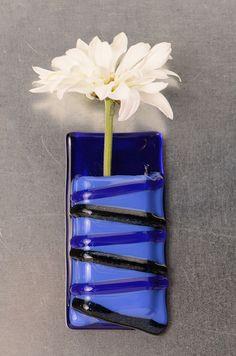 Blue Stripes Pocket vase,  magnetic fused glass vase