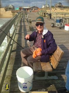 92 years old on the #OuterBanks and still fishing strong...  Thanks Mr. H!  #obx #NagsHead