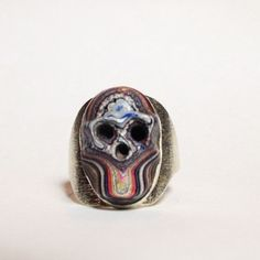Custom Fordite Skull Silver Ring: Intense Rainbow Statement Jewelry For Everyone; Psychedelic & Upcycled One-of-a-Kind Detroit/Motor Agate (160.00 CAD) by inkmetalpaint