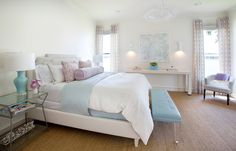 House of Turquoise: Tracy Hardenburg Designs - contemporary bedroom with a white leather bed, bedroom bench and a pale pastel color palette