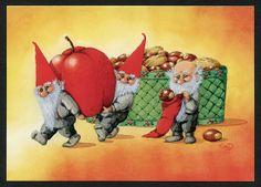 Gnomes carrying apple by Eva Dahlberg Swedish Christmas, Scandinavian Christmas, Christmas Elf, Christmas Cards, David The Gnome, Baumgarten, Photo Cutout, Humanoid Creatures, Chalkboard Drawings